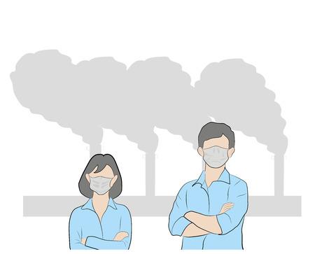 Illustration pour People in masks because of fine dust. hand drawn style vector doodle design illustrations. air pollution. vector illustration. - image libre de droit