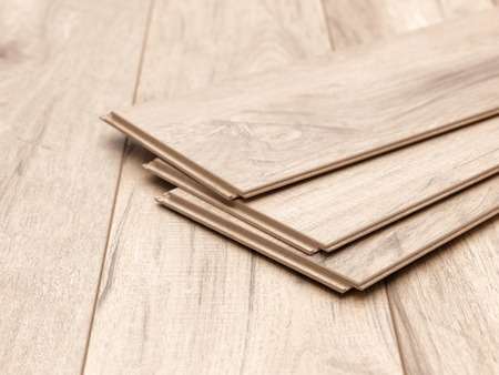 Foto de A studio photo of timber laminate flooring - Imagen libre de derechos