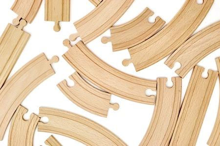 Photo pour A studio photo of a wooden train track - image libre de droit