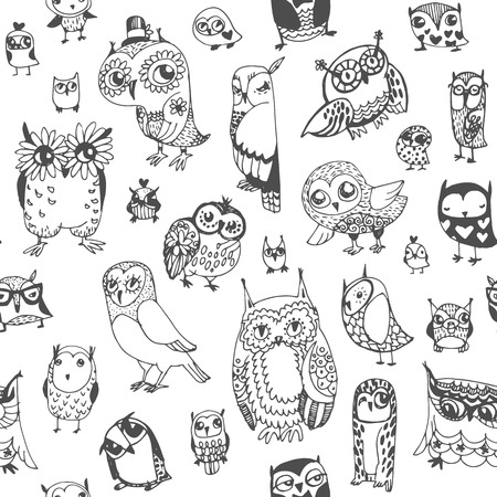 Illustration pour Owl seamless background. Monochrome. Hand drawn vector illustration. - image libre de droit