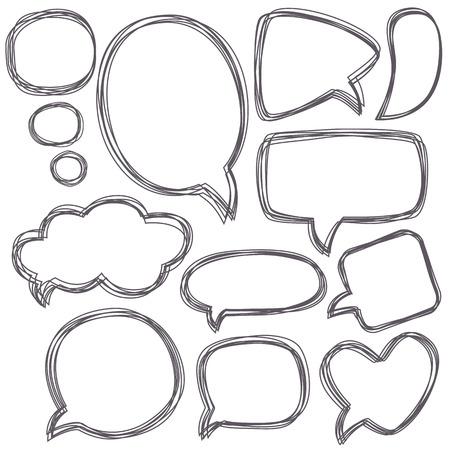 Illustration pour Doodle speech bubbles.   - image libre de droit