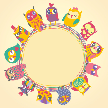 Ilustración de Childrens background with multicolored cartoon owls for cute card. Circle frame. Place for text. Template for design cartoon greeting card, Valentines day background - Imagen libre de derechos