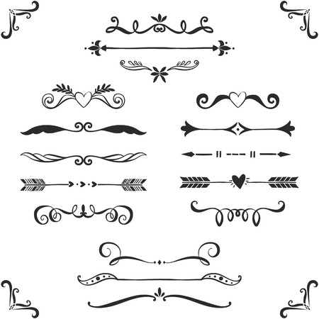 Ilustración de Vintage decorative text dividers collection. Hand drawn vector design elements. - Imagen libre de derechos