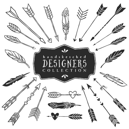 Illustration pour Vintage decorative arrows and feathers collection. Hand drawn vector design elements. - image libre de droit