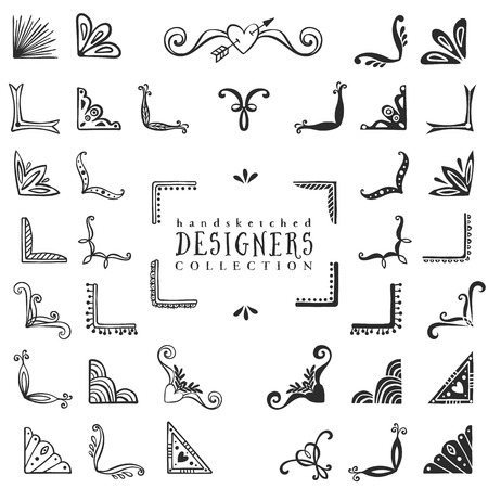 Illustration for Vintage decorative corners collection. Hand drawn vector design elements. - Royalty Free Image