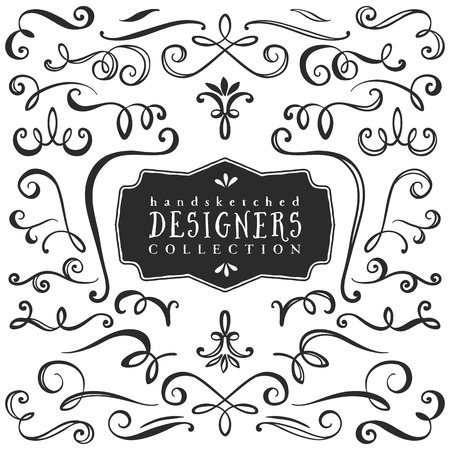 Illustration pour Vintage decorative curls and swirls collection. Hand drawn vector design elements. - image libre de droit