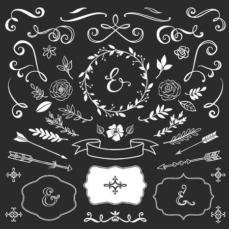 Illustration for Vintage decorative elements with lettering. Hand drawn vector design wedding set. - Royalty Free Image