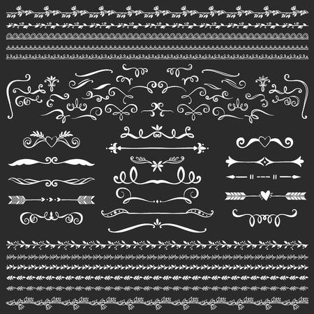 Illustration pour Vintage decorative curls and swirls collection. Hand drawn vector design elements on blackboard. - image libre de droit