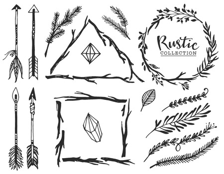 Illustration for Rustic decorative elements with arrow and lettering. Hand drawn vintage vector design set. - Royalty Free Image