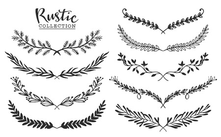 Illustration pour Vintage set of hand drawn rustic laurels. Floral vector graphic. Nature design elements. - image libre de droit