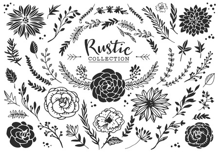 Illustration pour Rustic decorative plants and flowers collection. Hand drawn vintage vector design elements. - image libre de droit