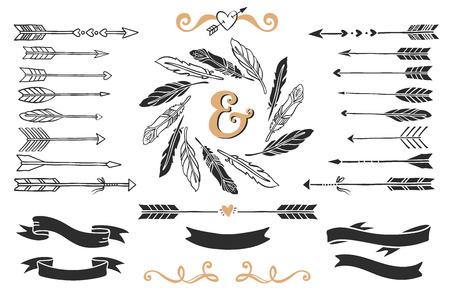 Ilustración de Hand drawn vintage arrows, feathers, and ribbons with lettering. Romantic vector design wedding set. - Imagen libre de derechos