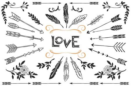 Illustration pour Hand drawn vintage arrows, feathers, and flowers with lettering. Romantic vector design wedding set. - image libre de droit