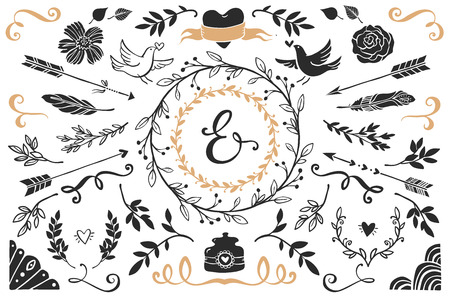 Illustration pour Hand drawn vintage decorative elements with lettering. Romantic vector design wedding set. - image libre de droit