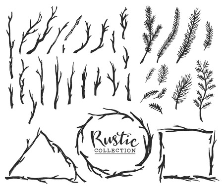 Illustration for Hand drawn vintage wood tree branches and wreaths. Rustic decorative vector design set. - Royalty Free Image