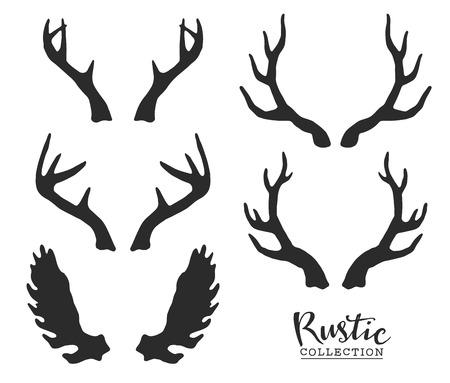 Ilustración de Hand drawn vintage antlers. Rustic decorative vector design elements. - Imagen libre de derechos