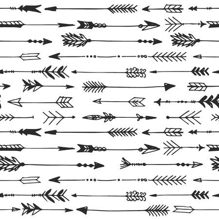 Ilustración de Arrow rustic seamless pattern. Hand drawn vintage vector background. Decorative design illustration. - Imagen libre de derechos