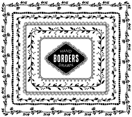 Illustration pour Vintage decorative nature borders. Hand drawn vector design elements. - image libre de droit