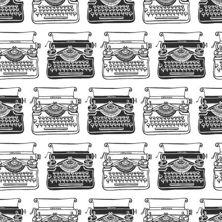 Ilustración de Vintage typewriter seamless background. Hand drawn vector pattern. Decorative design illustration. - Imagen libre de derechos