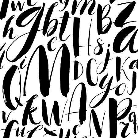 Ilustración de Handwritten calligraphic font seamless background. Modern brush lettering. Hand drawn vector alphabet. - Imagen libre de derechos
