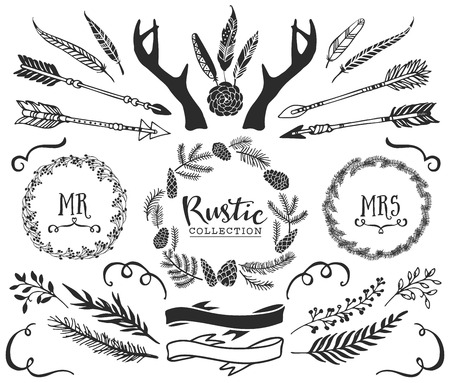 Illustration pour Hand drawn antlers, arrows, feathers, ribbons and wreaths with lettering. Rustic decorative vector design set. Vintage ink illustration. - image libre de droit