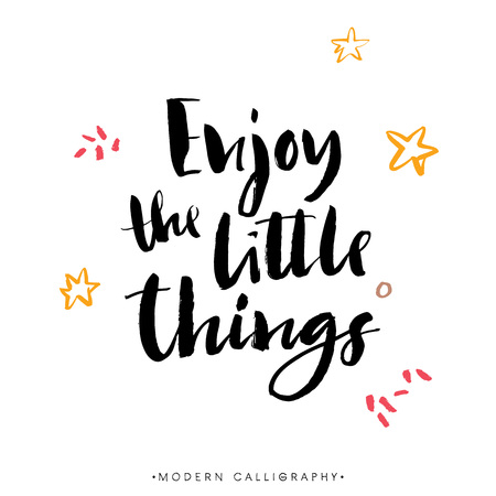 Illustration pour Enjoy the little things. Modern brush calligraphy. Handwritten ink lettering. Hand drawn design elements. - image libre de droit
