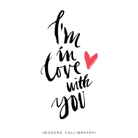 Foto de I'm in love with you. Modern brush calligraphy. Handwritten ink lettering. Hand drawn design elements. - Imagen libre de derechos