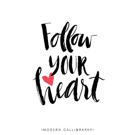 Ilustración de Follow your heart. Modern brush calligraphy. Handwritten ink lettering. Hand drawn design elements. - Imagen libre de derechos