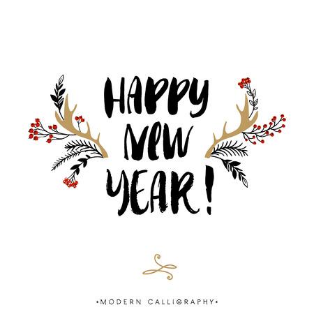 Illustration pour Happy New Year. Christmas calligraphy. Handwritten modern brush lettering. Hand drawn design elements. - image libre de droit