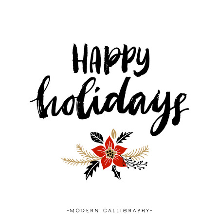 Ilustración de Happy Holidays. Christmas calligraphy. Handwritten modern brush lettering. Hand drawn design elements. - Imagen libre de derechos