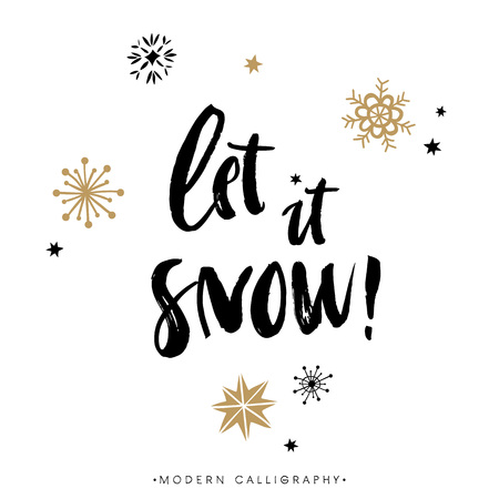 Illustration pour Let it snow! Christmas calligraphy. Handwritten modern brush lettering. Hand drawn design elements. - image libre de droit
