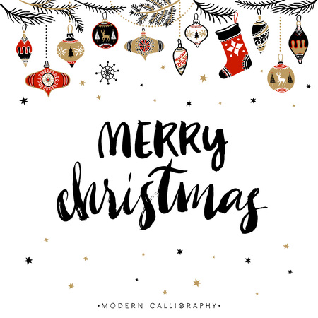 Ilustración de Merry Christmas. Christmas calligraphy. Handwritten modern brush lettering. Hand drawn design elements. - Imagen libre de derechos