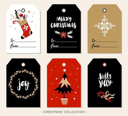 Ilustración de Christmas gift tag with calligraphy. Handwritten modern brush lettering: Merry Christmas, Joy, Holly Jolly. Hand drawn design elements. - Imagen libre de derechos