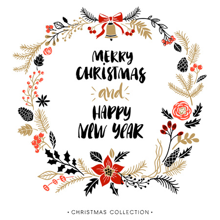 Illustration pour Christmas greeting wreath with calligraphy. Happy New Year and Merry Christmas. Handwritten modern brush lettering. Hand drawn design elements. - image libre de droit