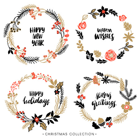 Illustration pour Christmas greeting wreaths with calligraphy. Handwritten modern brush lettering. Hand drawn design elements. - image libre de droit