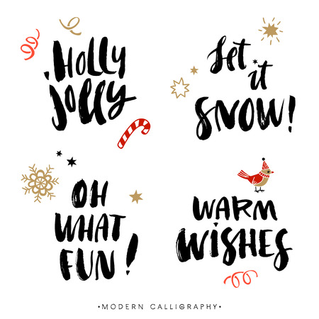 Christmas calligraphy phrases. Holly Jolly. Let it snow. Oh what fun. Warm wishes. Handwritten modern brush lettering. Hand drawn design elements.