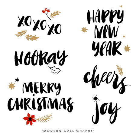 Illustration for Christmas calligraphy phrases. XOXO. Happy New Year. Merry Christmas. Hooray. Cheers. Joy. Handwritten modern brush lettering. Hand drawn design elements. - Royalty Free Image