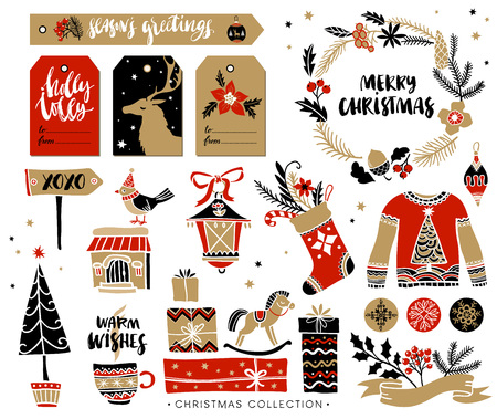 Illustration pour Christmas hand drawn design elements with calligraphy. Handwritten modern brush lettering. Gift tags and gift boxes, wreath, sweater and christmas stocking. - image libre de droit