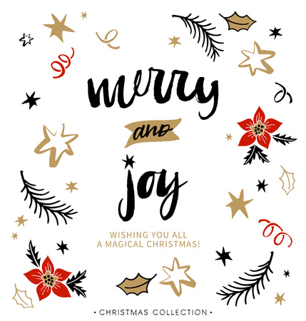 Illustration pour Merry and Joy. Christmas greeting card with calligraphy. Handwritten modern brush lettering. Hand drawn design elements. - image libre de droit