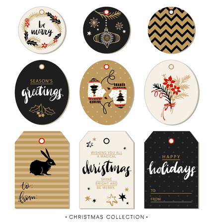 Ilustración de Christmas gift tag. Hand drawn design elements and calligraphy. Handwritten modern brush lettering: Merry Christmas, Happy Holidays, Be merry, Season's greetings. - Imagen libre de derechos