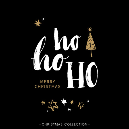 Illustration for Merry Christmas greeting card with calligraphy. Hoho. Handwritten modern brush lettering. Hand drawn design elements. - Royalty Free Image