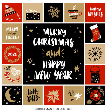 Illustration pour Merry Christmas and Happy New Year. Christmas greeting card with calligraphy. Handwritten modern brush lettering. Hand drawn design elements. - image libre de droit