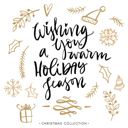 Ilustración de Wishing you a warm holiday season. Christmas greeting card with calligraphy. Handwritten modern brush lettering. Hand drawn design elements. - Imagen libre de derechos