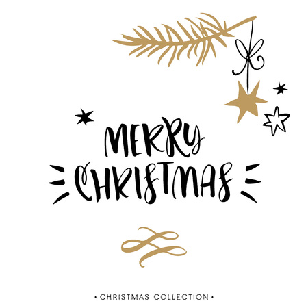 Illustration pour Merry Christmas! Christmas greeting card with calligraphy. Handwritten modern brush lettering. Hand drawn design elements. - image libre de droit