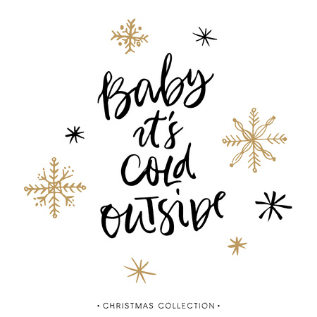 Photo pour Baby it's cold outside. Christmas greeting card with calligraphy. Handwritten modern brush lettering. Hand drawn design elements. - image libre de droit