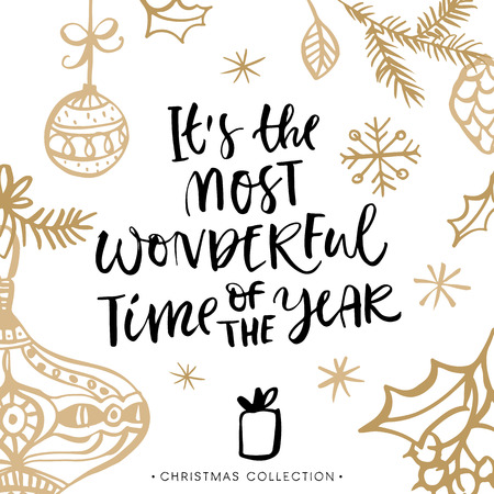 Ilustración de It's the most wonderful time of the year! Christmas greeting card with calligraphy. Handwritten modern brush lettering. Hand drawn design elements. - Imagen libre de derechos