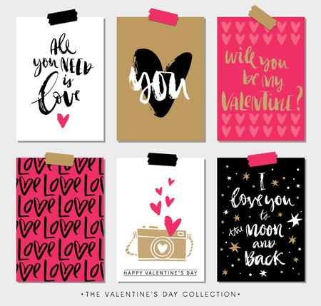 Ilustración de Valentines day gift tags and cards with calligraphy. Hand drawn design elements. Handwritten modern lettering. - Imagen libre de derechos