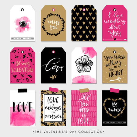 Ilustración de Valentines day gift tags and cards. Calligraphy and hand drawn design elements. Handwritten modern lettering. - Imagen libre de derechos