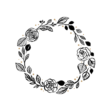 Illustration pour Black circular rose and leaf wreath pattern design - image libre de droit