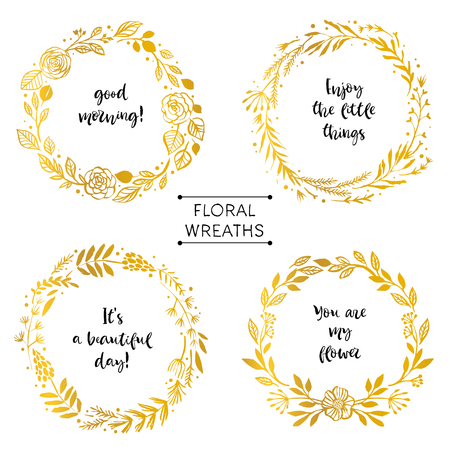Illustration for Gold flower wreaths card with inspirational quote. Hand drawn design elements. Handwritten modern lettering. Floral pattern vector illustration. - Royalty Free Image